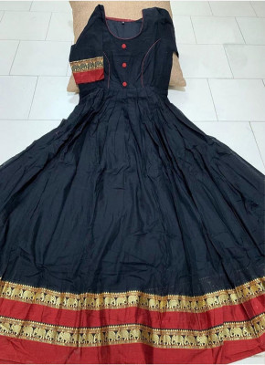 Observable Black Colored Partywear Printed Less Satin Silk Trendy Gown