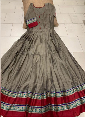 Prominent Grey Colored Partywear Printed Less Satin Silk Trendy Gown