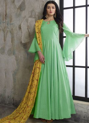 Pastel Green Designer Wear Long Dress With Embroidered Dupatta